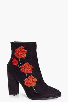 Bella Floral Stitch Block Heel Boot