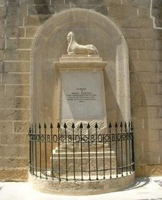 The memorial to Rinaldo Sceberras at the Upper Barracca as in Military Officer, Maltese, First World, World War, Colonial, Death, India, Life, Goa India