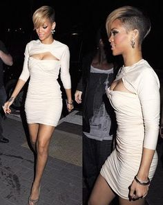 Rihanna rocking short hair and an undercut