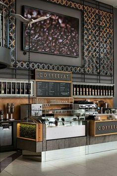 bar counter design for cafe Design Shop, Café Design, Coffee Shop Design, Shop Counter Design, Bistro Design, Coffee Shop Interior Design, Interior Shop, Restaurant Design, Architecture Restaurant