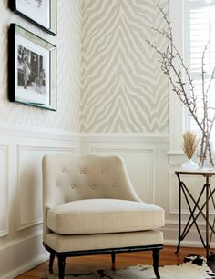 Thibaut Etosha Wallpaper in Grey; I like pearl or beige. $42