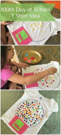 Day of School T Shirt Idea- DIY Inspired A fun Day of School T Shirt Idea for kids. Make this easy gumball machine t shirt for your kids one hundredth day of school. 100 Day Of School Project, 100 Days Of School, School Fun, School Projects, Projects For Kids, School Stuff, 100 Day Shirt Ideas, 100days Of School Shirt, 100s Day