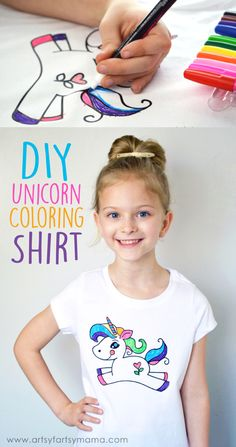Create your own DIY Unicorn Coloring Shirt at artsyfartsymama.com