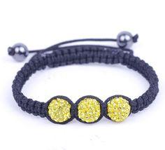 Yellow Rhinestone Crystal Clay Disco Ball Beaded Charm Bracelet Adjustable