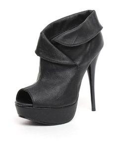 "Must Have Peep Toe Booties Black.Heel is Approx 4.5"" Tall."