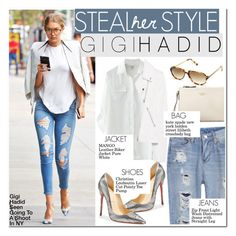 """#27 Steal Her Style: Gigi Hadid"" by hafsahshead ❤ liked on Polyvore featuring MANGO, Christian Louboutin, Kate Spade and Shauns"