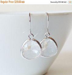 SALE Gift Clear earrings Crystal earrings Clear glass earrings