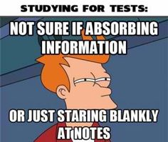 me right now.. Studying...I am in college and I have yet to figure out how to study..is staring at the page supposed to make the information magically stick in my head?