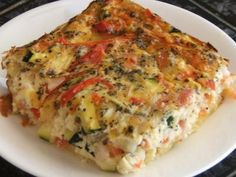 Impossible Savoury Slice Lower fat version of an oldie, but a goodie. Quiche Recipes, Bacon Recipes, Egg Recipes, Vegetarian Recipes, Dinner Recipes, Cooking Recipes, Healthy Recipes, Recipies, Breakfast Recipes
