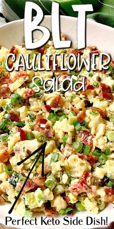 Low Carb Side Dishes, Veggie Side Dishes, Side Dish Recipes, Diabetic Side Dishes, Cauliflower Side Dish, Cauliflower Salad, Cauliflower Low Carb Recipes, Diet Recipes, Cooking Recipes