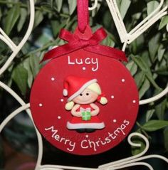 Personalised Merry Christmas Fimo Girl Bauble Keepsake - Cedar Cottage Crafts - Handmade personalised wooden gifts & keepsakes for all occasions. Handcra