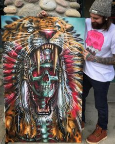 Finished scale of this sabertooth warrior all done with ,,, prints and canvas prints available on www. (link in bio⬆️⬆️🎨)) ART Collective Indian Skull Tattoos, John Johnson, Warrior Paint, African Artwork, Avant Garde Artists, Canvas Art, Canvas Prints, Airbrush Art, Dope Art