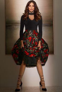 Women's Floral Poppy Printed Full Skirt.