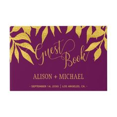 #Elegant classy fall gold leaves mulberry wedding guest book - #WeddingGuestBook #Wedding #Guest #Books #Guestbook Wedding Guest Books