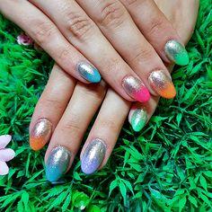 Bright rainbow polish with silver chrome gradient! www.kawaiiklaws.com Class Ring, Chrome, Polish, Nail Art, Kawaii, Rainbow, Bright, Nails, Rings