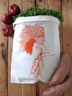 """100% Natural Cotton Eco Bag Great for fruits and veggies of all kinds! HEIGHT: 17""""WIDTH: 13"""" Printed with Non Toxic water based inks - Safe for you and the environment! Machine Wash Cold Water Lay Flat To Dry  ECOBAGS® custom printed by the tiny yellow bungalow! <3 zero waste & eco friendly"""