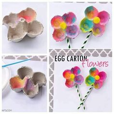 Colorful Egg Carton Flowers for preschool spring craft Preschool Crafts, Easter Crafts, Crafts For Kids, Crafts To Do, Arts And Crafts, Egg Carton Crafts, Spring Projects, Mothers Day Crafts, Summer Crafts