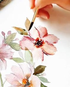 Learn how to paint easy watercolor roses in 4 different ways! Step by step loose watercolor flower painting techniques for beginners. Get out your watercolor sketchbooks and paint with me! Watercolor Flowers Tutorial, Flower Tutorial, Floral Watercolor, Art Floral, Simple Watercolor Flowers, Watercolor Pencil Art, Cherry Blossom Watercolor, Watercolor Food, Watercolor Video