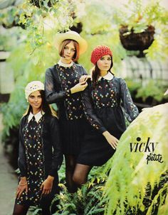 "March 1969. 'Wild, wild mountain flowers Schiffli embroidered on Monsanto Blue ""C"" polyester and cotton voile…' ~ Vicky Petite"