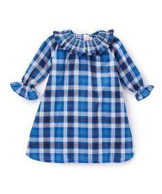 Smocked Ruffle Blue Plaid Dress