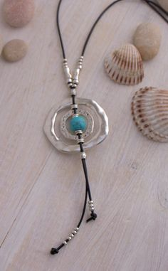 2d0aa6225aed Silver rings necklace with blue turquoise ball Loop necklace for women  Leather tassel pendant Eyeglass necklace Boho style Gift for her