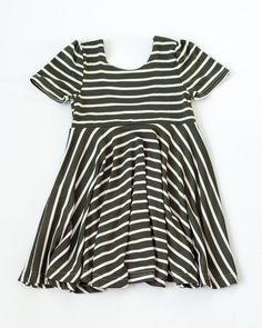The Jersey Twirl Dress - Olive & Ivory Stripe     Toddler & Little Girl Dresses