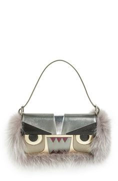 Fendi 'Monster' Leather & Genuine Fox Fur Baguette