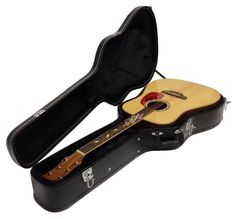 ACOUSTIC GUITAR IN HARD CASE WITH MOTHER OF PEARL BIRD INLAY