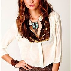Free People New Romantics sequin button down New, never been worn ivory top with bronze sequin panels! Delicate fabric with intricate sewing patterns along buttons and sleeves; perfect for a nice weathered day to get that boho chic look for any outfit!! A versatile top that can be Paired with any skirt, pants, or shorts! Free People Tops Blouses