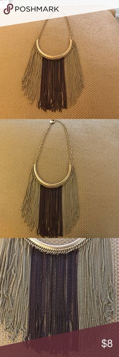 Chico's fringe Bib necklace Gold and brown fringe Chico's Jewelry Necklaces