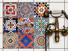 Décoration carrelage autocollant - salle de bain et cuisine | Sticker Carrelage Autocollant - Revêtement salle d'eau | Design Carreaux Portugais - 15x15 cm - 9 adhésif carrelage: Amazon.fr: Cuisine & Maison