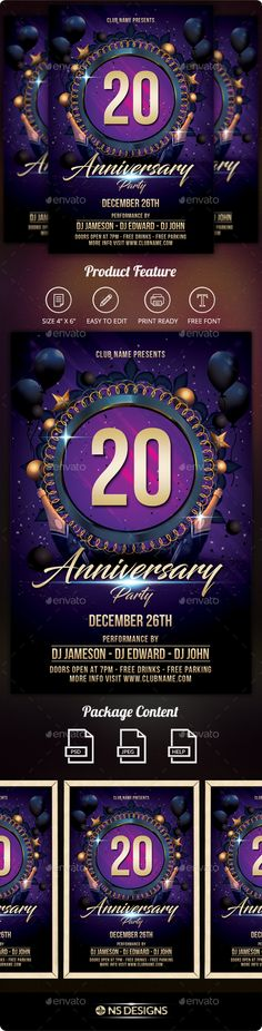 Elegant Party Flyer Party flyer, Font logo and Flyer template - anniversary flyer