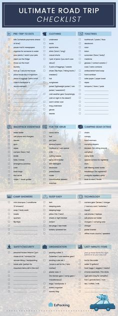 This is the only family road trip packing list you'll need! We have everything covered --- checklist for before your trip and all the road trip essentials you need to pack. Keep reading until the end for our Free Printable Road Trip Packing List! Road Trip Checklist, Road Trip Packing List, Camping Packing, Road Trip Essentials, Road Trip Hacks, Travel Checklist, Travel Packing, Vacation Packing, Packing Tips