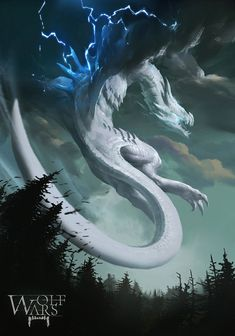 Air Dragon that reminds me of Dialga. It's definitely a dragon fighting for something. Storm cloud wings, too? Mythical Creatures Art, Mythological Creatures, Magical Creatures, Cool Dragons, Dragon Artwork, Dragon Pictures, White Dragon, Dragon Light, Blue Dragon