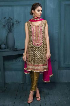 Beutifull wedding party dress in green gold and shoking pink color Model# W 891 Pakistani Mehndi Dress, Pakistani Formal Dresses, Pakistani Wedding Outfits, Pakistani Dress Design, Indian Dresses, Indian Outfits, Mehendi Outfits, Pakistani Party Wear, Pakistani Couture