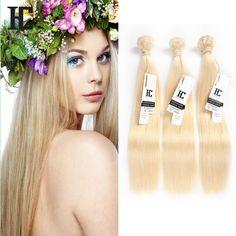 4Bundles Virgin Hair Fashion #613 Blonde Brazilian Virgin Human Hair 100g/pcs HC #HCHair #StraightBundle