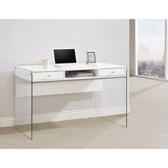QIHANG-UK I Shape White Computer Desk Small Desk for Limited Space Modern Student Desk for Reading Writing Home Office Bedroom Student Dormitory 100cm Width