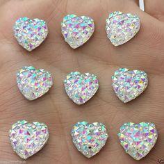24pcs Crystal AB 12mm Flat Back Heart Sew-On Resin Rhinestones Button Gems B10