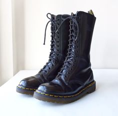Vintage 90s Made in England Dr Martens 1914 14 Eye Black Lace Up Leather Combat Boots, Size UK 5, US 7, Military Boots, Grunge, Punk, Docs. $130.00, via Etsy.