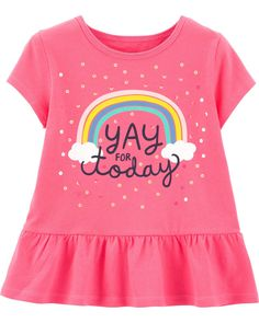 Toddler Girl Sequin Rainbow Peplum Top   Carters.com Baby Girl Tops, Carters Baby Girl, Baby Boy, Cute Outfits For Kids, Toddler Outfits, Sonus Festival, Toddler Leggings, Boy Leggings, Toddler Boys