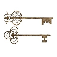 Set of two iron plaques with key silhouettes.   Product: 2 Piece key wall decorConstruction Material: Iron...