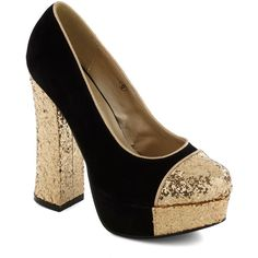 Gold Coast Heel in Black ($53) ❤ liked on Polyvore
