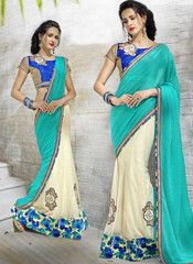 Cream & Sea Green Color Half Crush & Half Fancy Material Ready To Wear Wear Sarees : Veena Collection  YF-42761