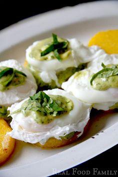 Gluten Free Eggs Benedict on Polenta Cakes with Pesto Hollandaise