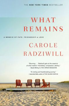 What Remains: A Memoir of Fate, Friendship, and Love by Carole Radziwill. Beautifully written memoir about the loss of her husband Anthony and best friends Carolyn and John Kennedy Jr. within the span of a few weeks.