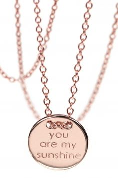 An engraved meaningful quote makes it a personal talisman or a special gift for a loved person. #necklace #sunshine #youaremysunshine #mum #mothersday WWW.NEWONE-SHOP.COM