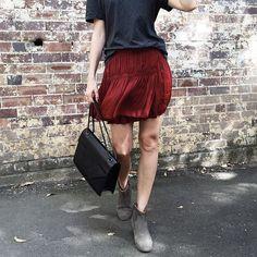 grey tee + maroon skirt + ankle booties