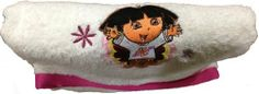 "Dora the Explorer Bath Towel & Washcloth Set - Embroidered by Franco MFG. $12.95. Bath Towel measures approx. 27"" x 49""; Washcloth measures approx. 12"" x 12"".. Bath Towel features Dora and the Washcloth features Boots. Machine wash. White with pink trim. DOES NOT HAVE A HOOD. 100% Cotton. Nick Jr. Dora the Explorer Bath Set. DOES NOT HAVE A HOOD."