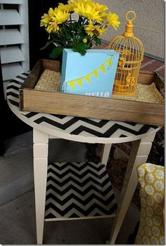 fabric covered chevron side table