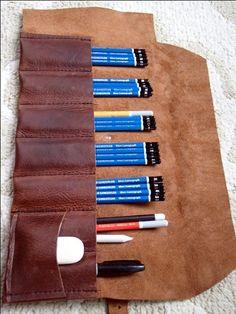 Cuir crayon rouleau pinceau porte-rouleau par ZenfishLeather